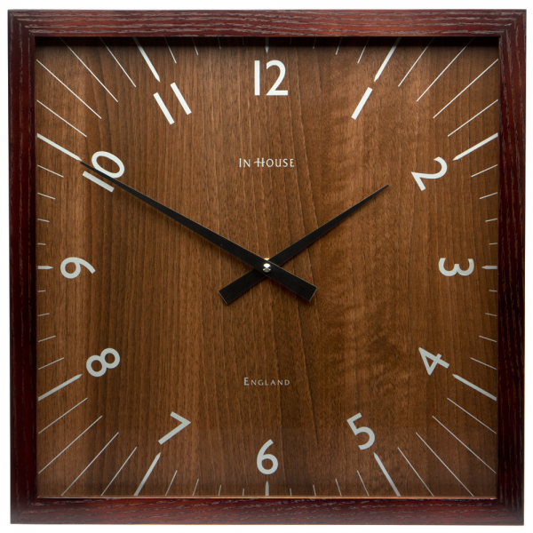 In House - Square Walnut Wall Clock with Walnut Frame | Peter's of ...