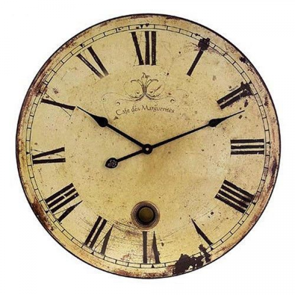 IMAX Large Traditional Wooden Wall Clock with Pendulum Home Decor