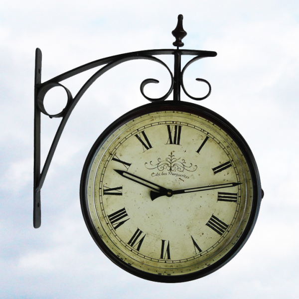 Details about DOUBLE SIDED indoor/outdoor LARGE Train Station Clock