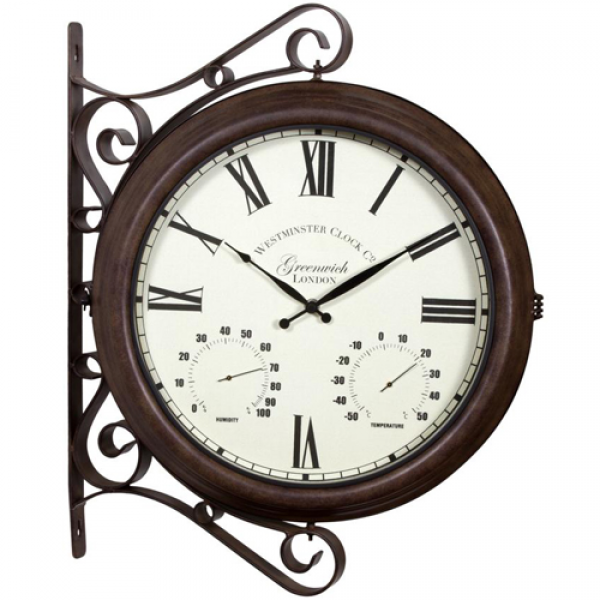 Large Brown Double Sided Outdoor Station Wall Clock Roman At Home | HD