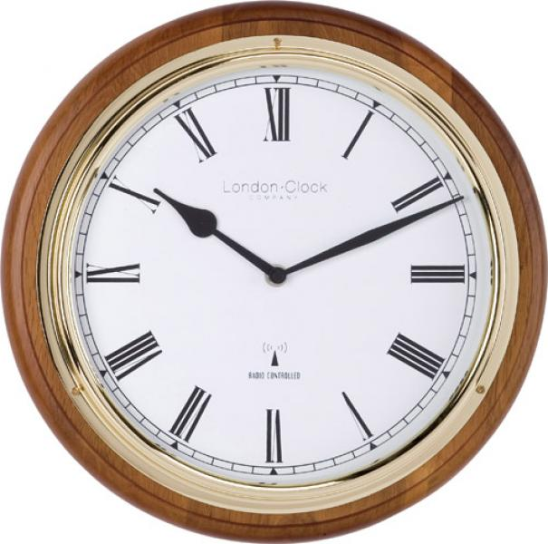 Clock Company Solid walnut MSF radio controlled quartz wall clock ...