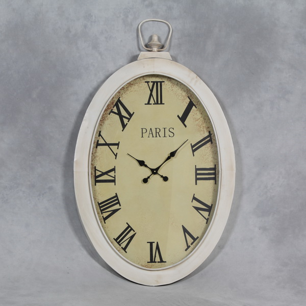 Large Antique White Oval Pocket Watch Shape Wall Clock Glass Face ...