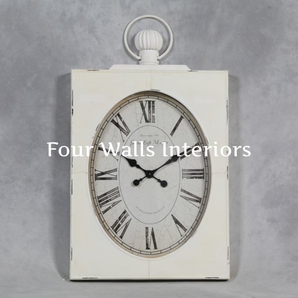 ... LARGE AGED ANTIQUE WHITE SQUARE POCKET WATCH STYLE WALL CLOCK OVAL