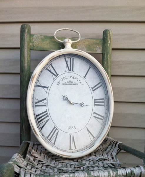 Oval Pocket Watch Wall Clock - Cottage White Metal Hanging Clock 19 ...