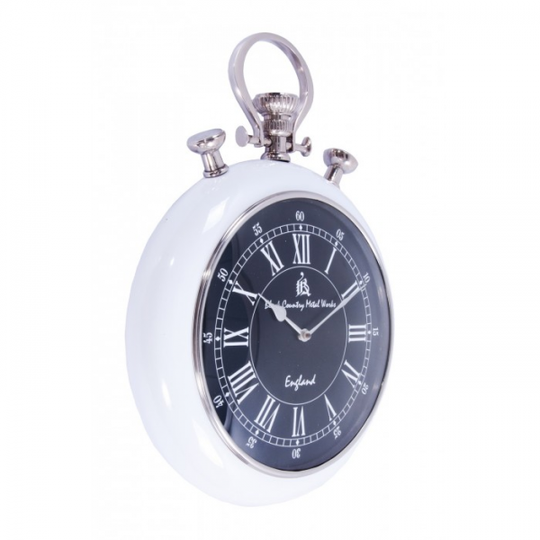 Pocket Watch Wall Clock with Black Face and White Surround - Wall ...