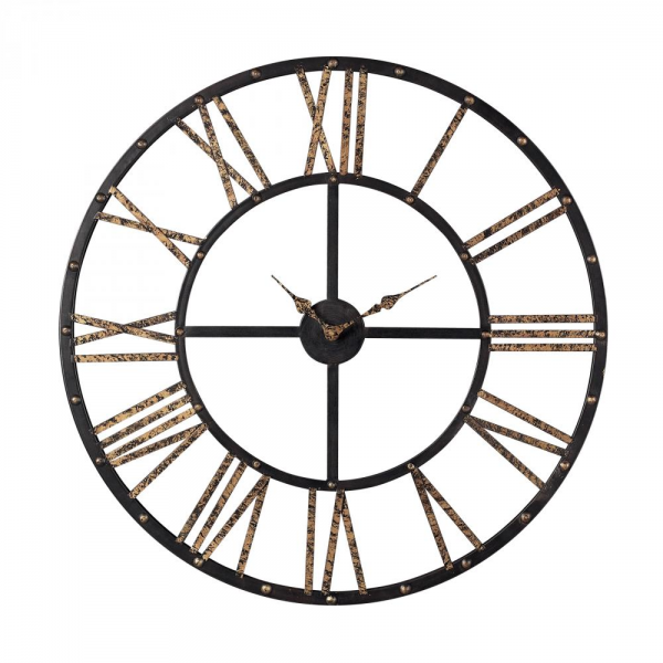 ... Industries 129-1024 - Metal Framed Roman Numeral Open Back Wall Clock