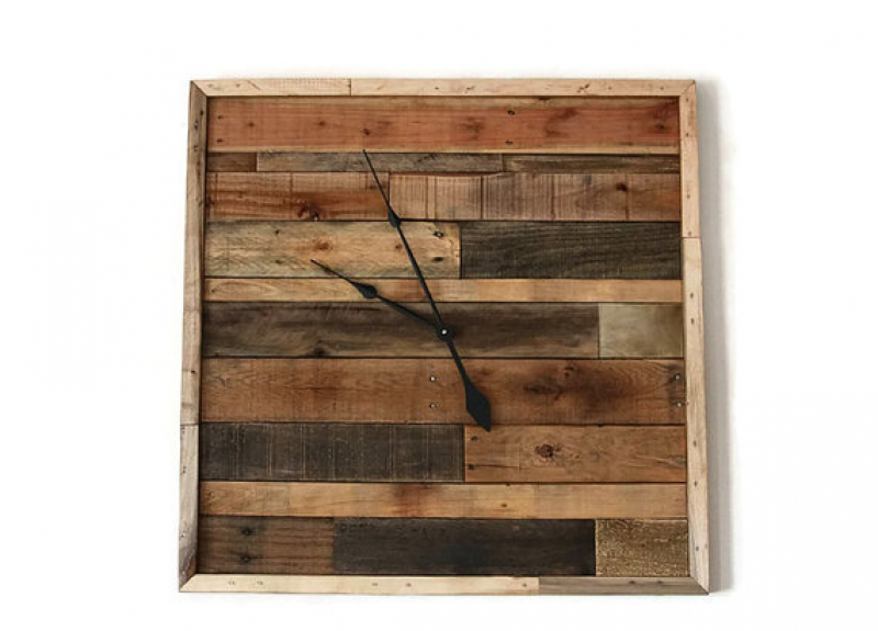 Large Pallet Wood Wall Clock 30 x 30 reclaimed wood clock Handmade ...