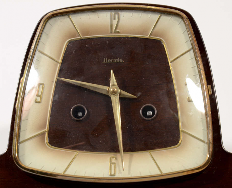 Mid Century Mantle Clock by Hermle w/ Brass Detailing at 1stdibs