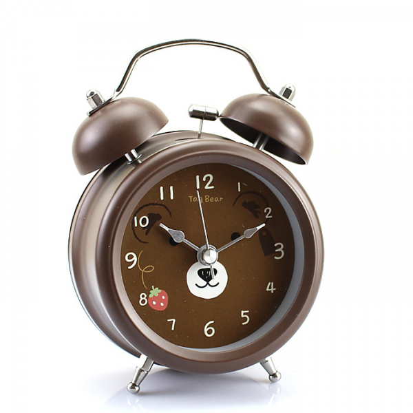 Coffee Vintage Metal Tag Bear Twin Double Bell Desk Table Alarm Clock ...