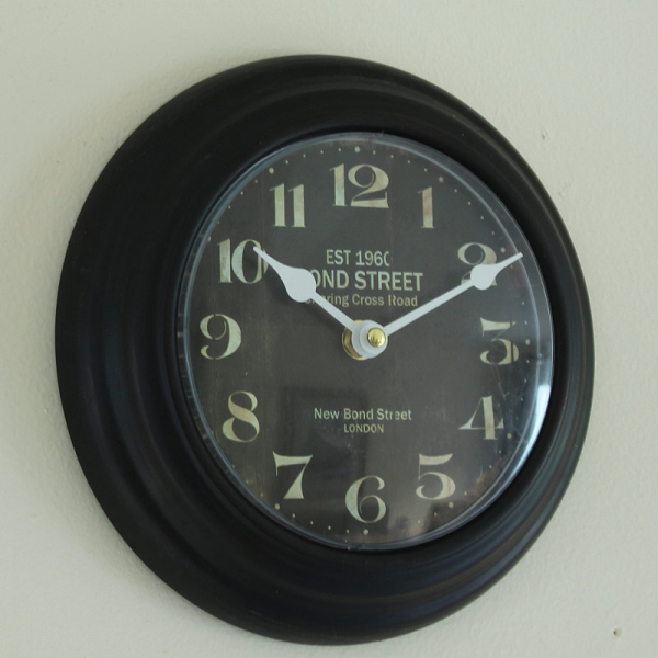 Small Black Metal Bond Street Wall Clock - Melody Maison®
