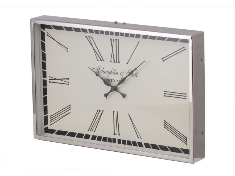 oblong silver wall clock | retro shiny metal wall clock | silver and ...