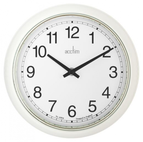 ... ? Rustic Clocks ? Clock: Wall Metal Small 24cm Lorene - White