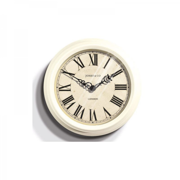 Jones Small Savoy Metal Wall Clock - Cream