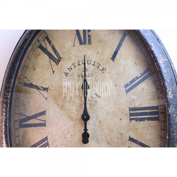 Large Oval Metal Wall Clock | Pocket Watch Style | Retro | Giant