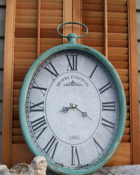 Pocket Watch Wall Clock - Large Up-Cycled Mint Metal Hanging Clock