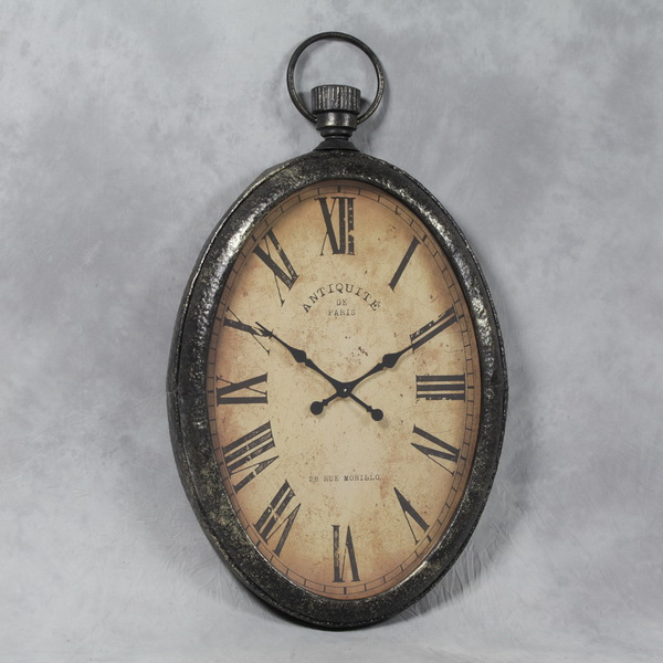 Extra Large Antiqued Oval Pocket Watch Wall Clock and glass face