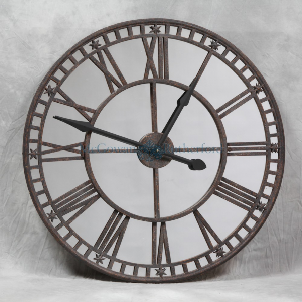 Industrial Large Antiqued Clock with Mirror Face - Wall Clocks ...