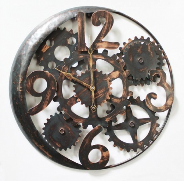 Large Distressed Industrial Vintage Cogs Wall Clock Round
