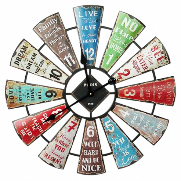 Large Round Industrial 60cm Inspirational Wall Clock