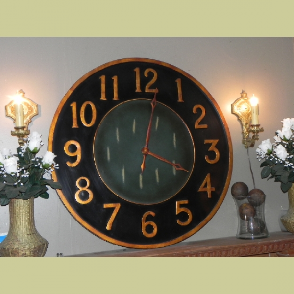 LARGE 36 INCH CONTEMPORARY BLACK & GOLD METAL WALL CLOCK ...