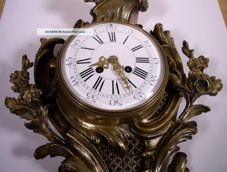 Antique French Bronze Ornate Cartel Wall Clock 19th Century Vincenti ...