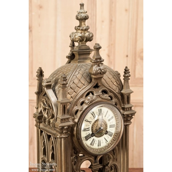 ... Antique Mantel/Wall Clocks > Antique French Gothic Bronze Mantel Clock