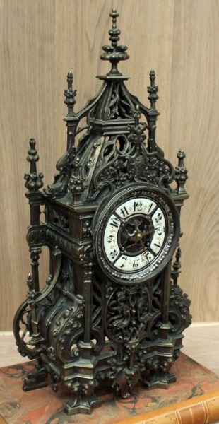 Antique French Gothic Bronze Mantel Clock | Mantel/Wall | Inessa ...