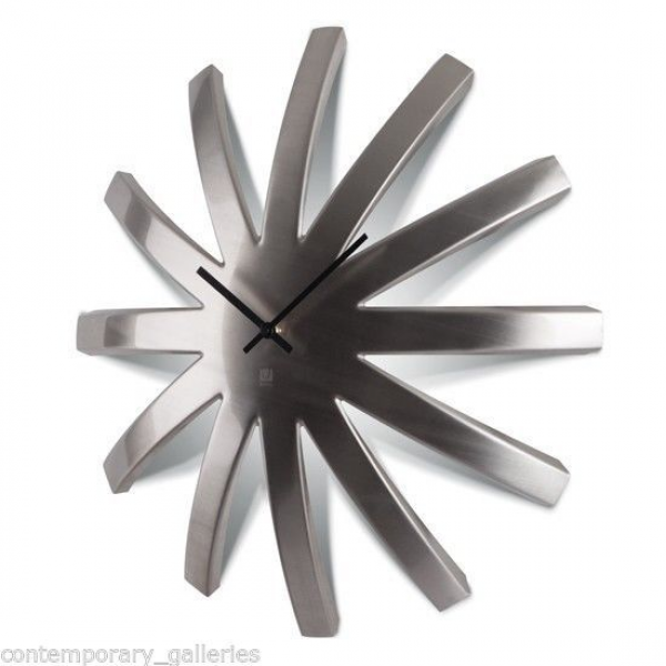 ... Contemporary Brushed Stainless Steel Dome Wall Clock 18 Diameter