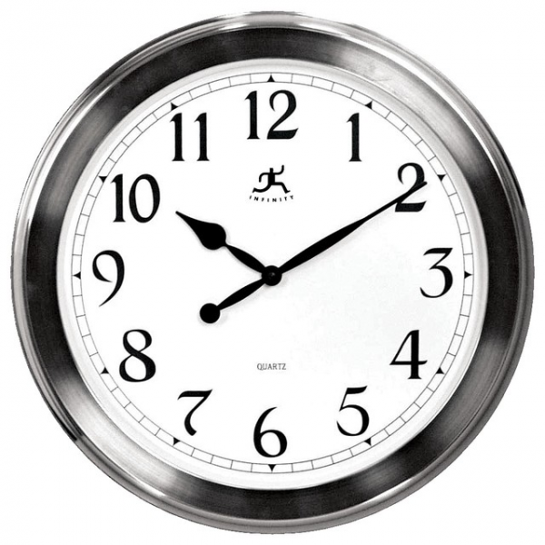 ... Nickel Finish 20 Wide Wall Clock - Contemporary - Clocks - by Lamps