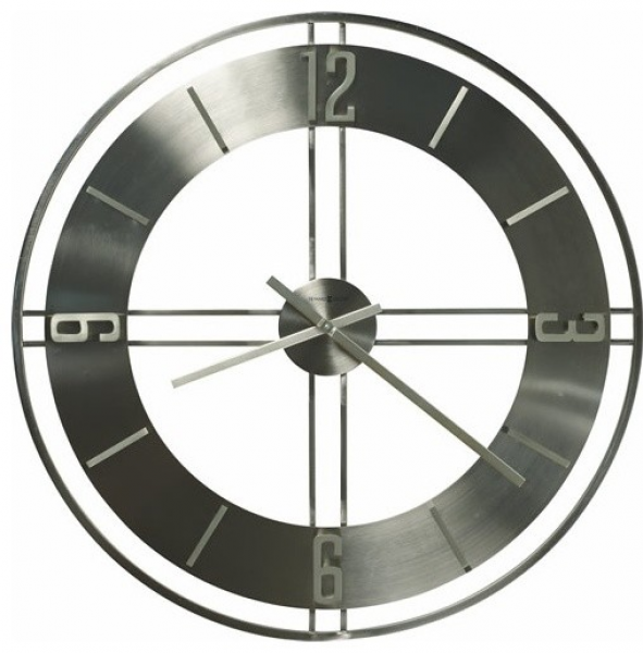 Brushed nickel large wall clocks metal wall clocks www top clocks com - Large brushed nickel wall clock ...