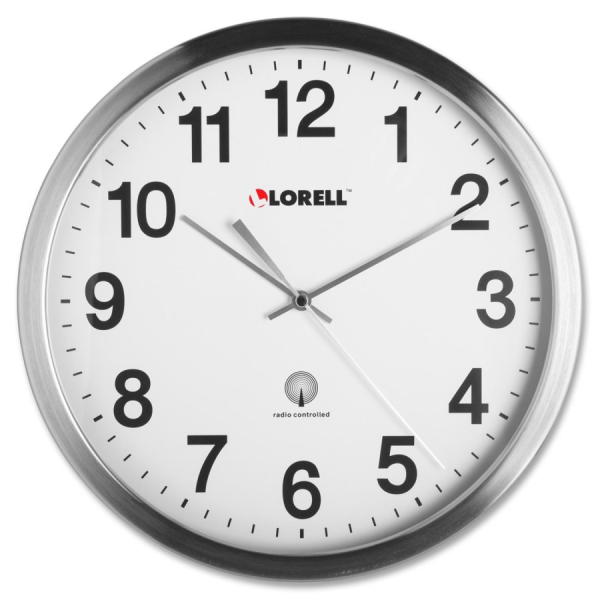 Lorell 61001 Lorell Brushed Nickel-plated Atomic Wall Clock - LLR61001 ...