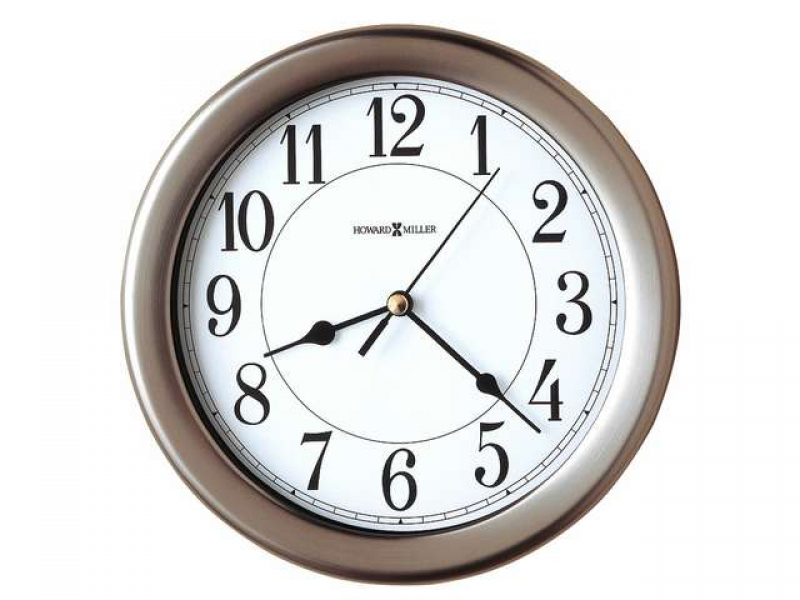 Brushed Nickel 12 Hour Wall Clock with Locking Rear Cover