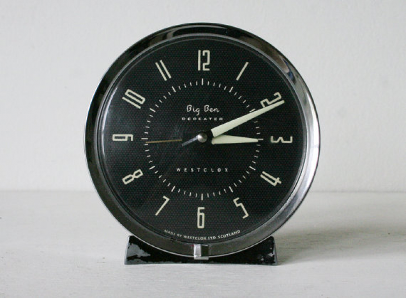 Mid Century Big Ben Large Westclox Metal Wind Up Bedside Alarm Clock
