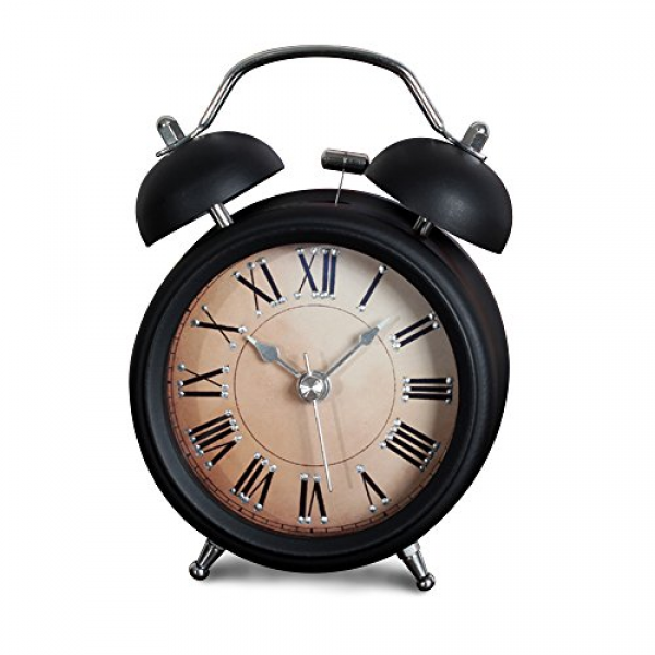 Non-ticking Silent Quartz Analog Metal Twin Double Bell Alarm Clock ...
