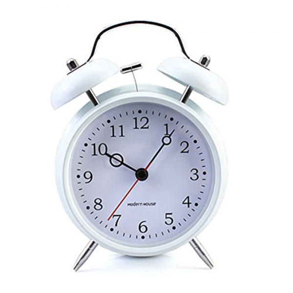 Non-ticking Silent Quartz Analog Retro Vintage Bedside Twin Bell Alarm ...