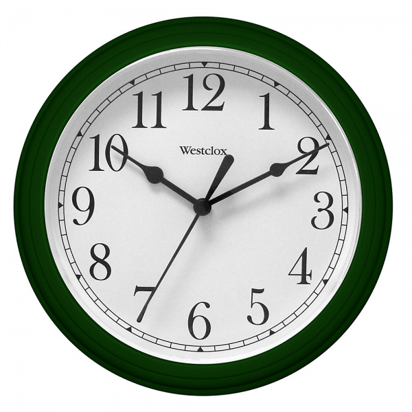 Westclox 46072 8-1/2 Inch Simplicity Round Wall Clock Hunter Green