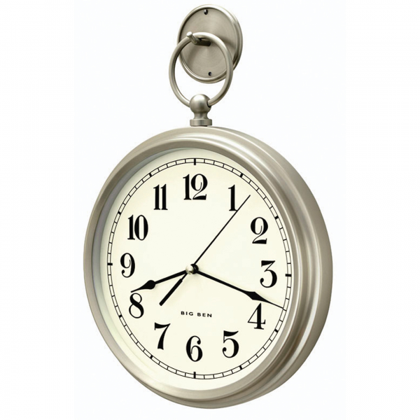 Westclox 47612 Big Ben Pocket Watch Style Wall Clock Brushed Nickel 12 ...