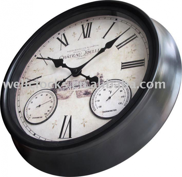 16 waterproof outdoor metal wall clock with thermometer and ...