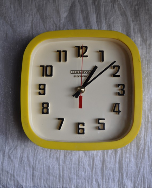 Vintage Bulova Wall Clock Yellow Modern Mid century Kitchen Office
