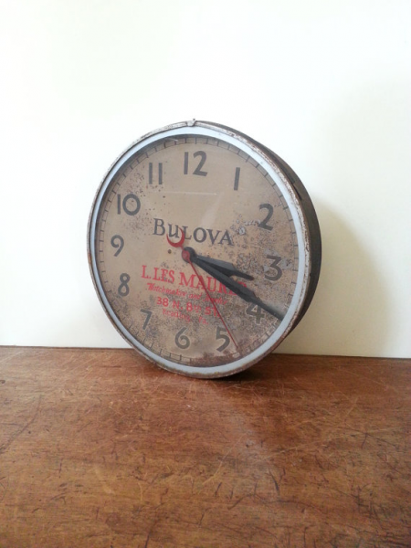 Wall Clock- Vintage Bulova Industrial Advertising Wall Clock- Rusty ...