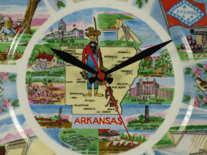 Wall Clock made from Upcycled Vintage Arkansas Souvenir Travel Plate ...