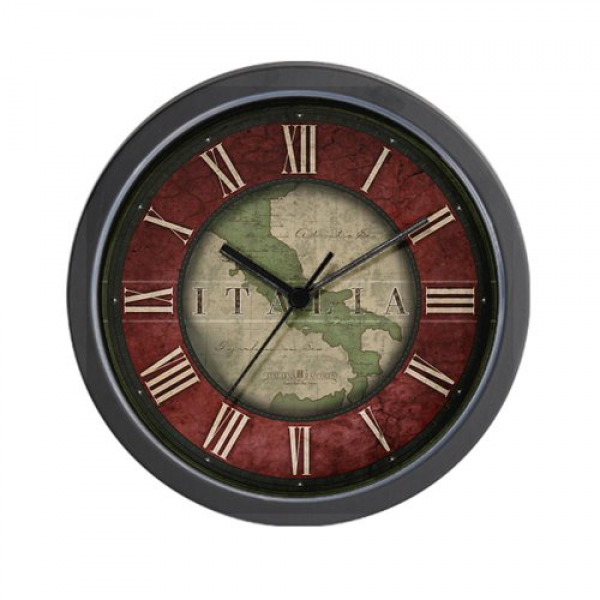 PRODUCT IMAGE OF: CafePress Vintage Italian Wall Clock with Italy Map ...
