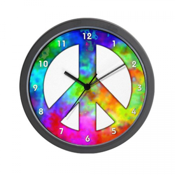 CafePress Retro Tie-dyed Peace Sign Wall Clock