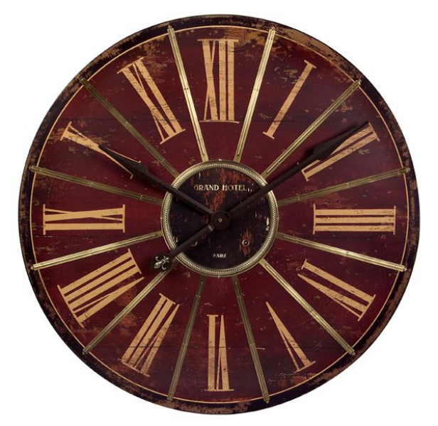 Home Decor Clocks 30 Vintage-Style Red and Gold Roman Numeral Wall ...