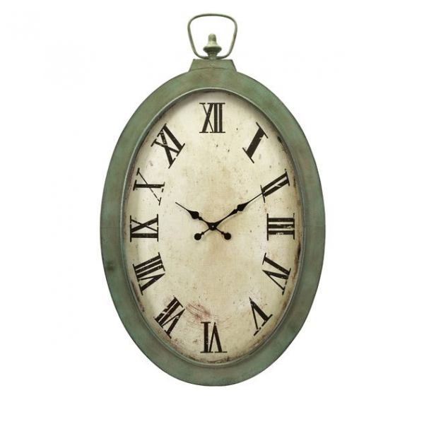 Home Decor Clocks 41 Large Antique Finish Green and Off White Roman ...