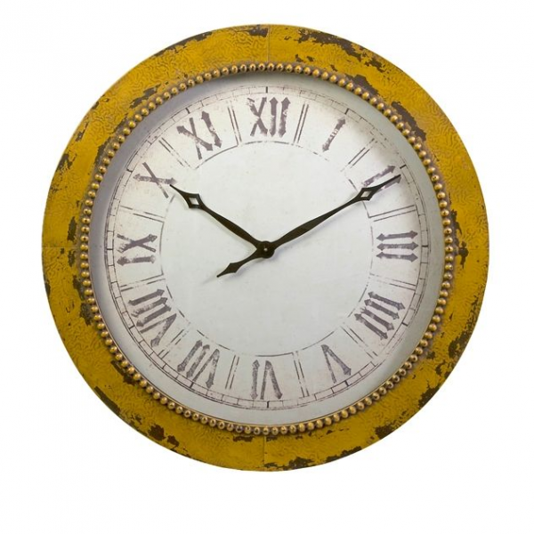 Home Decor Clocks 36 Distressed Yellow Roman Numeral Hammered Wall ...