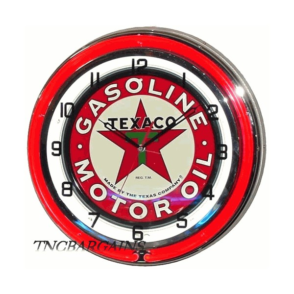Retro Texaco Star Gas Station Classic Style Double Neon Clock 18 inch
