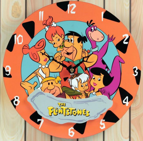 CLASSIC CARTOON STYLE COLLECTIBLE WOOD WALL CLOCK THE FLINTSTONES