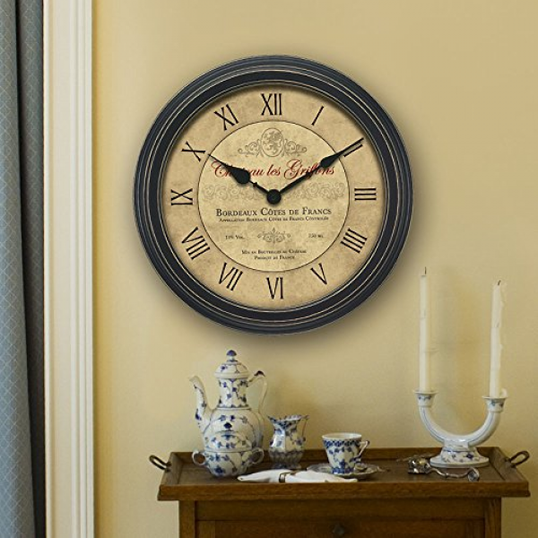 Chaney 50324A1 18-Inch Vintage Port Wine Wall Clock: Decorative Wall ...