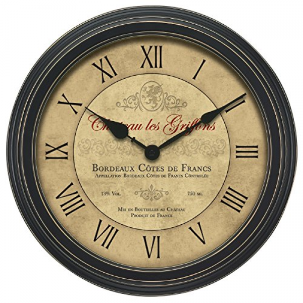Chaney 50324A1 18-Inch Vintage Port Wine Wall Clock